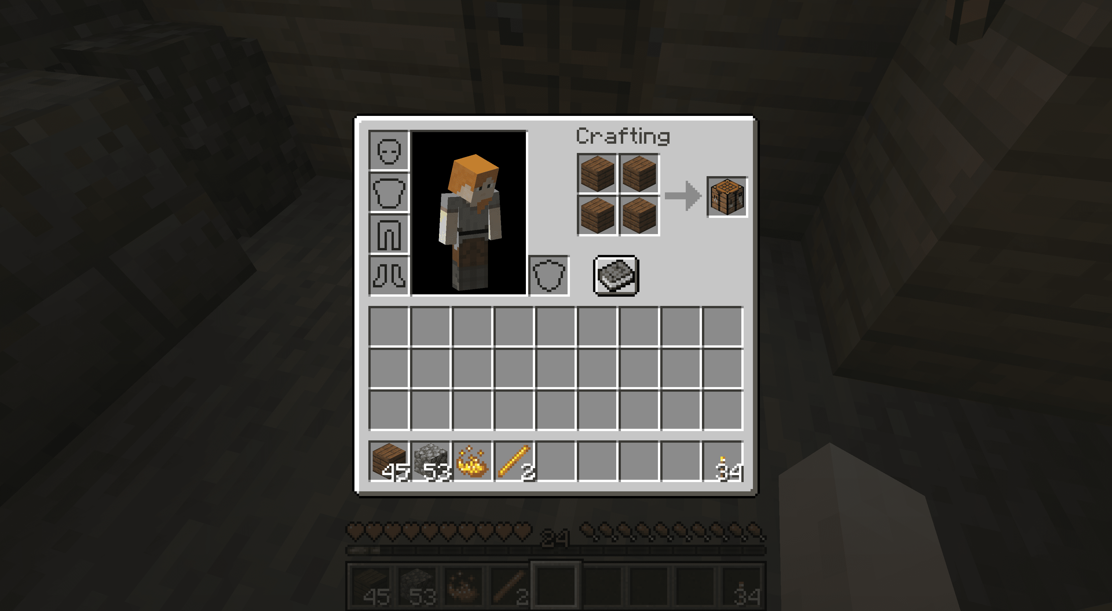 A crafting table in Minecraft.