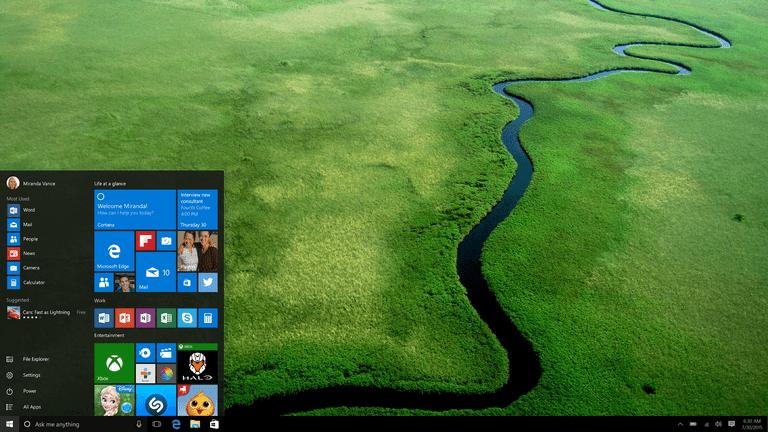 Windows 10 Desktop Start Screen with Office Icons
