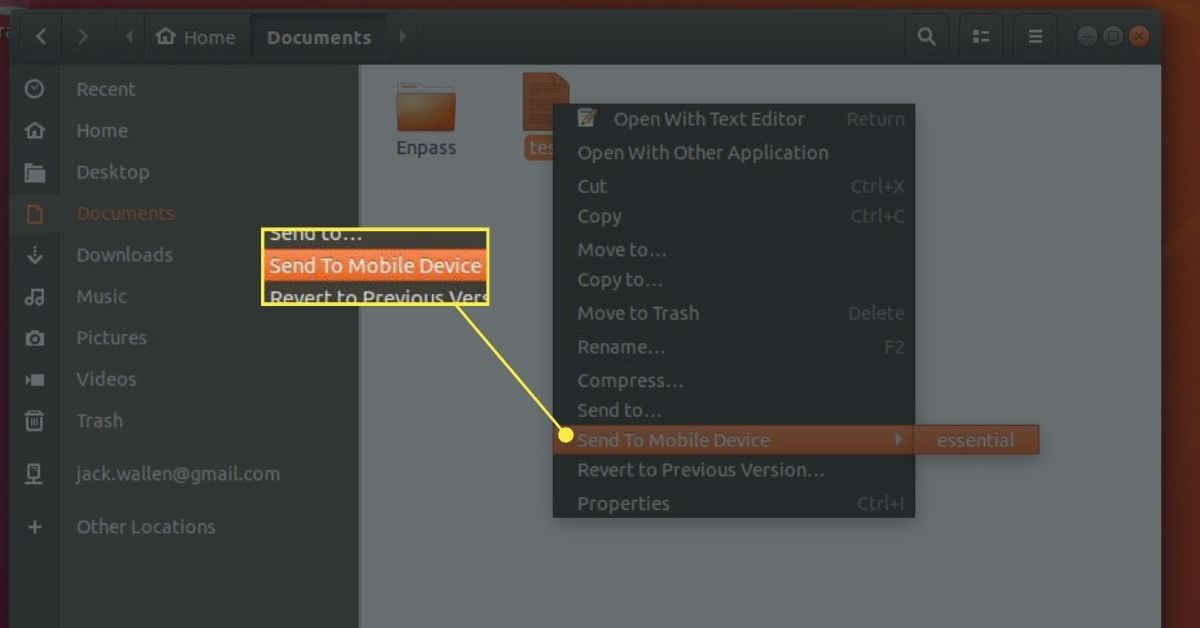 Linux drop-down menu.