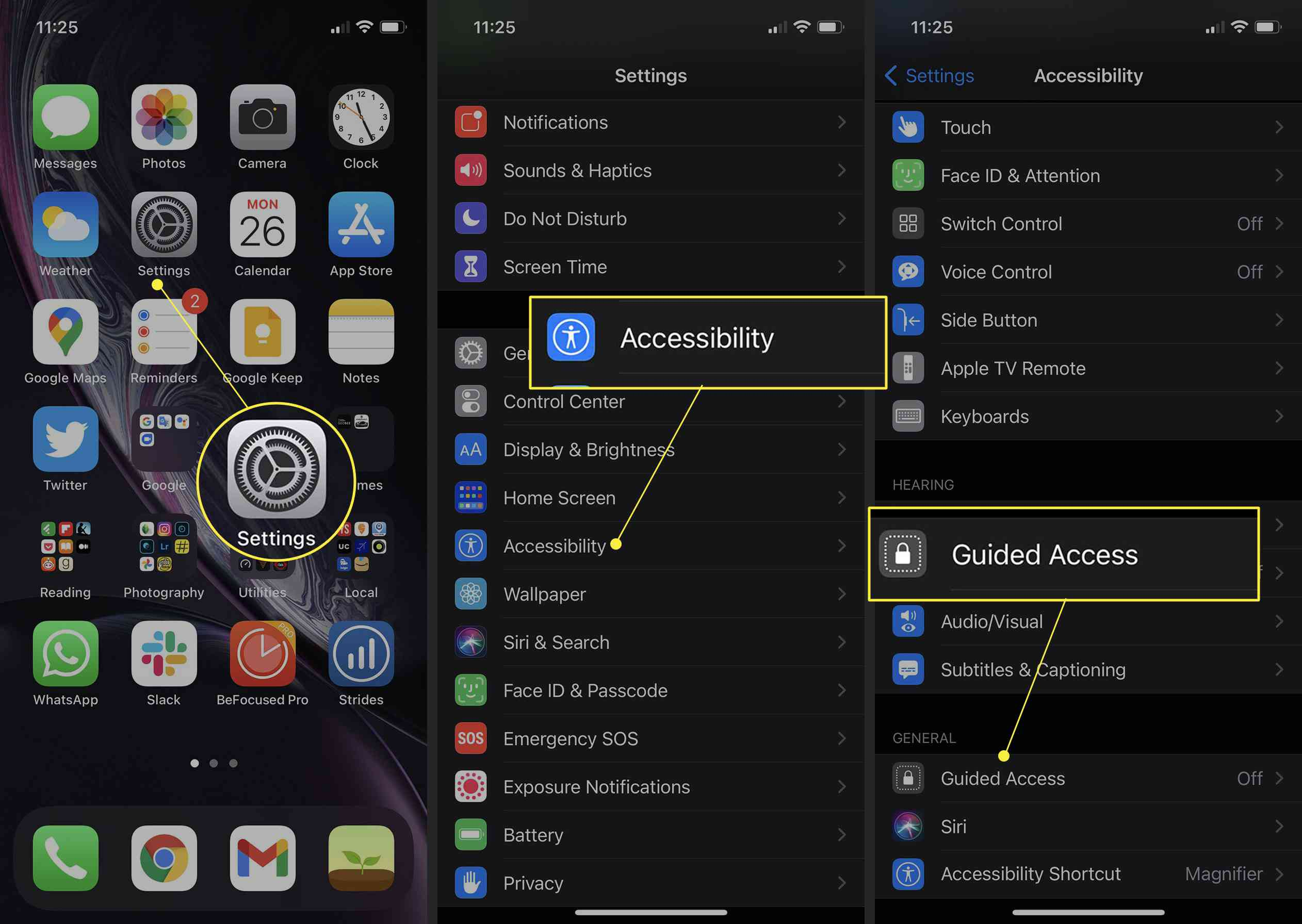 iPhone Accessibility Settings with Guided Access highlighted