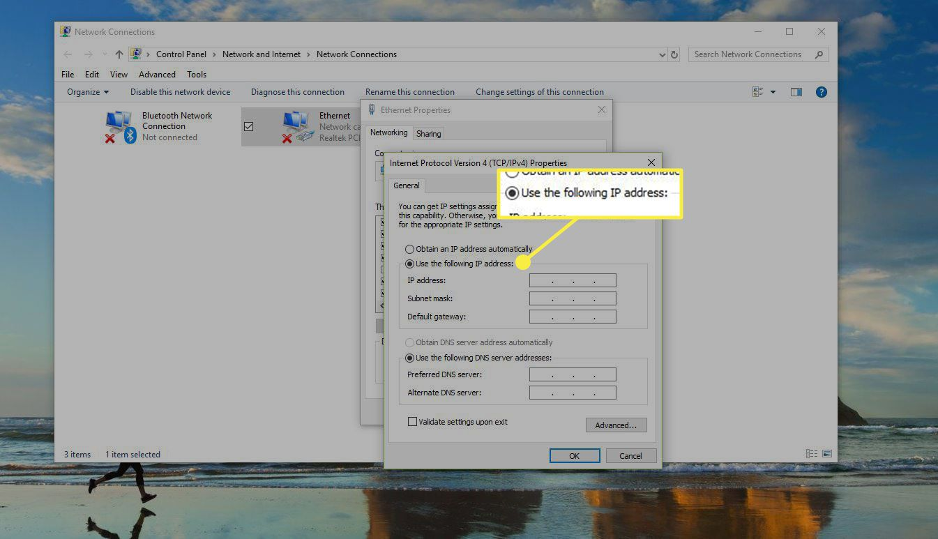 Windows Network Connection window with the