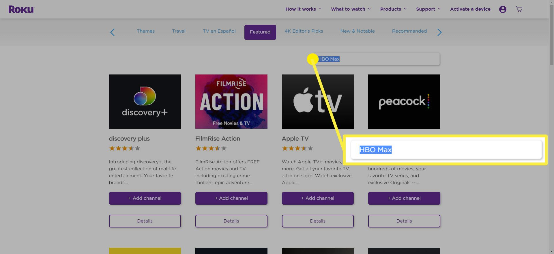 The search bar on the Roku Channel Store