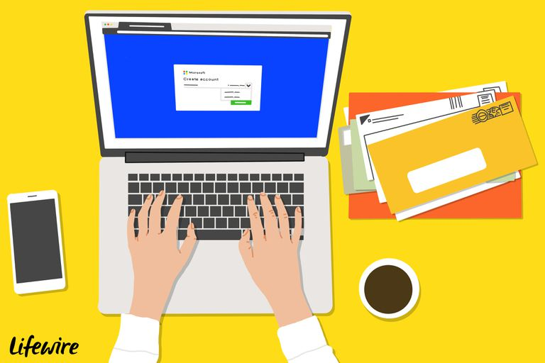 Illustration of a person using a laptop to create a new Outlook.com account