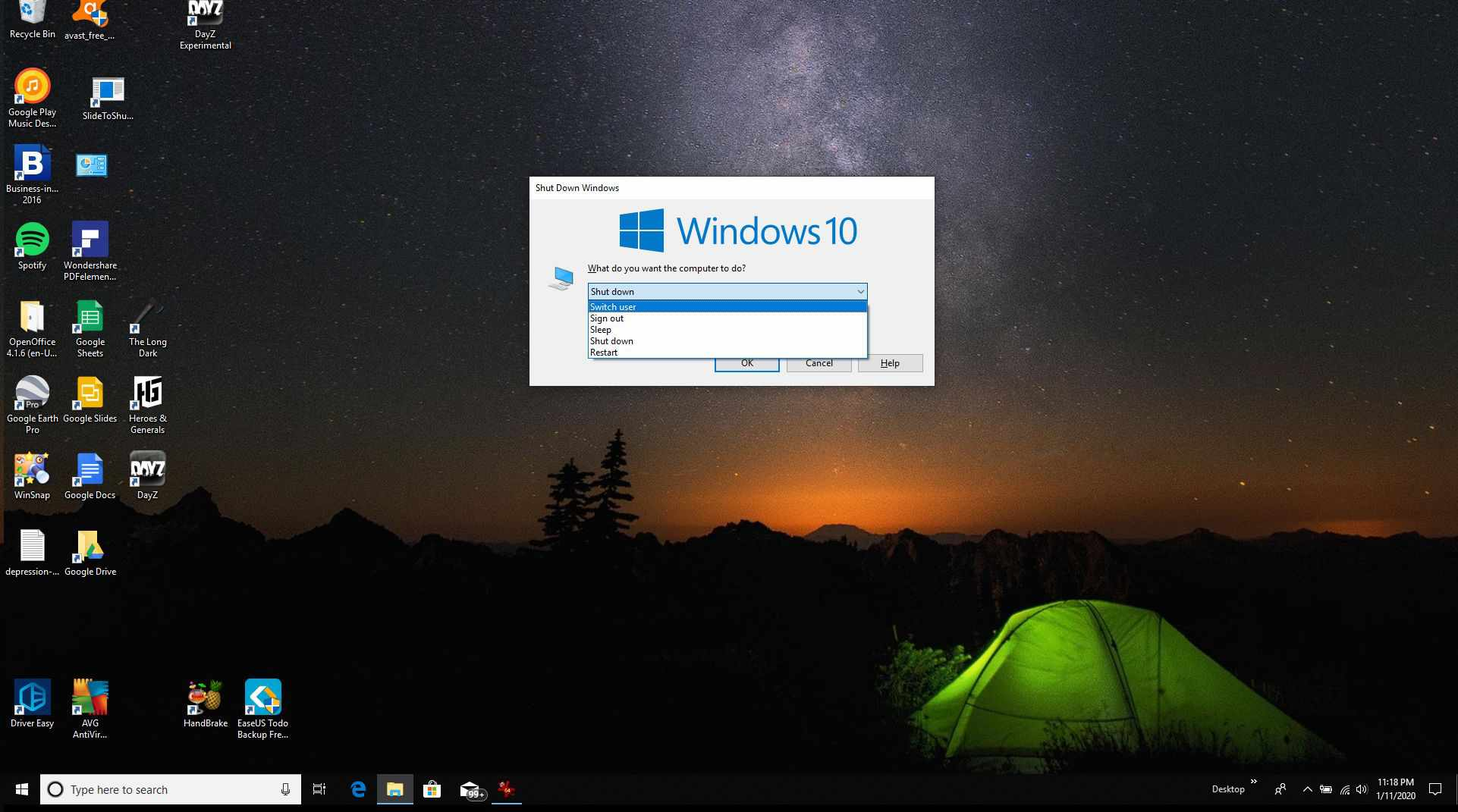 Screenshot of the Shut Down Windows window