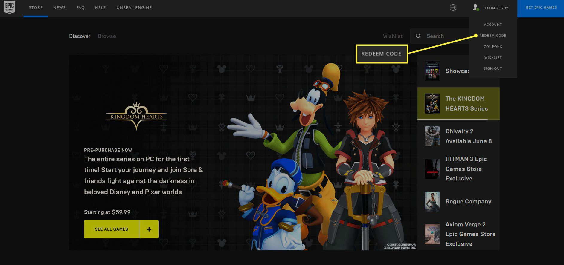 The account options list on the Epic Games Store website.