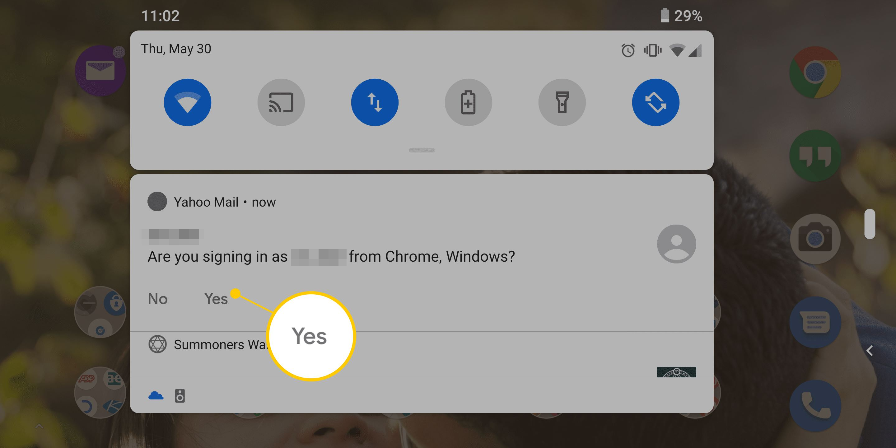 Yes button sign in confirmation on Android