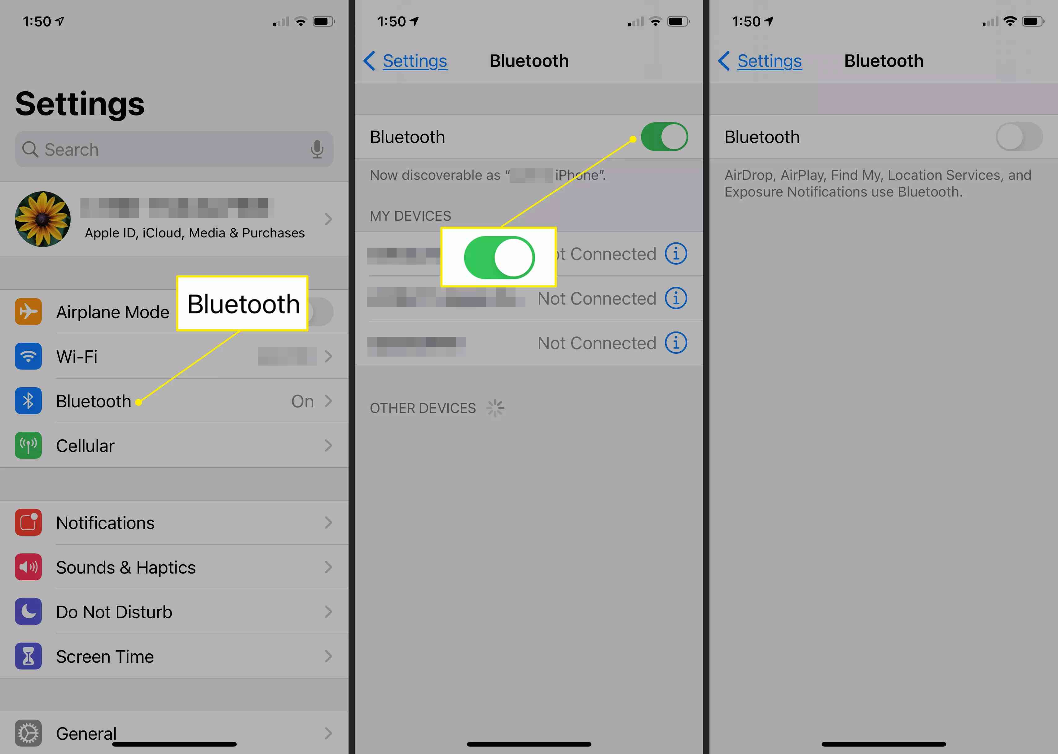 iPhone Settings showing the Bluetooth settings