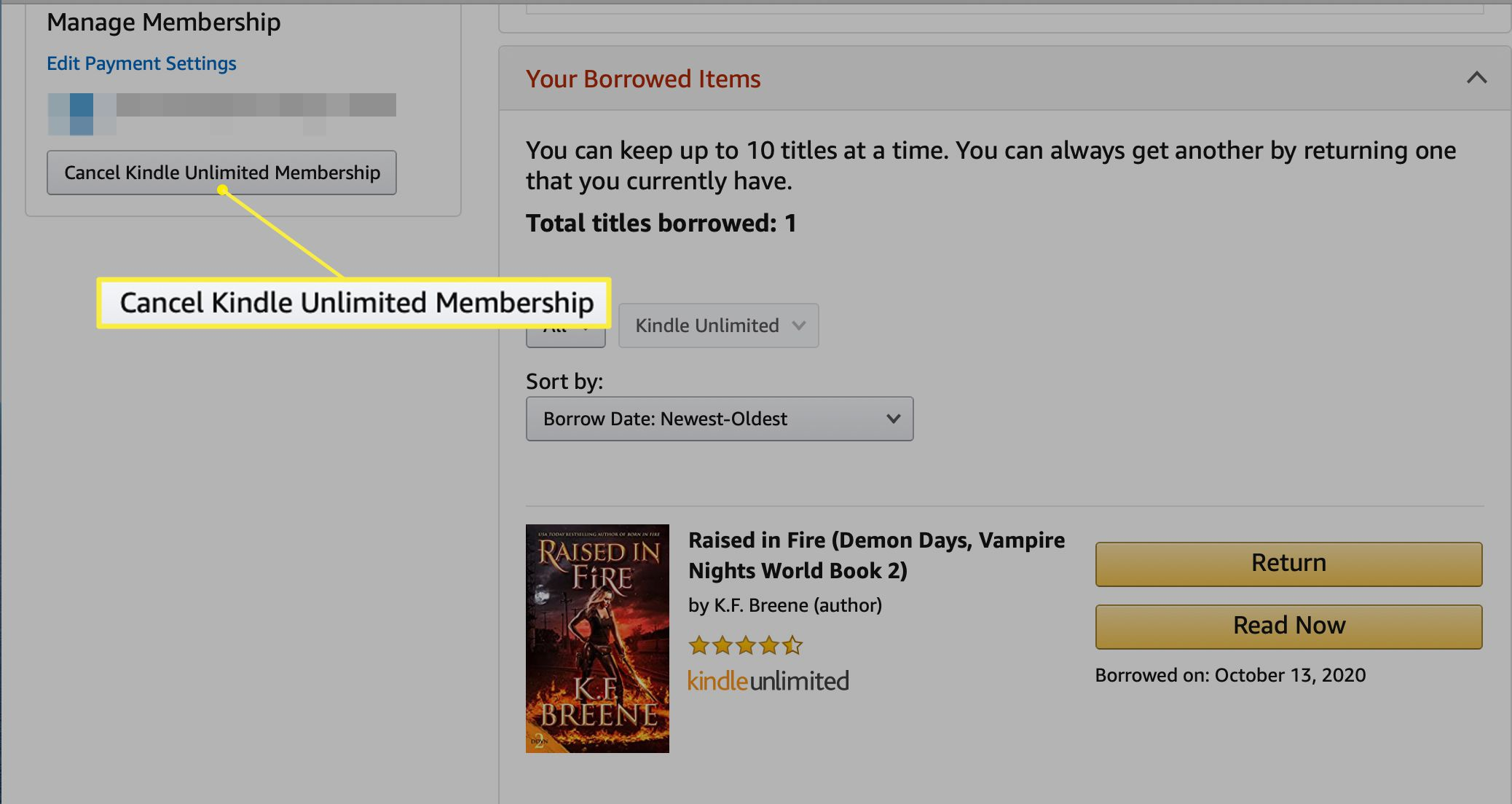 The Your Kindle Unlimited screen with Cancel Kindle Unlimited Membership highlighted