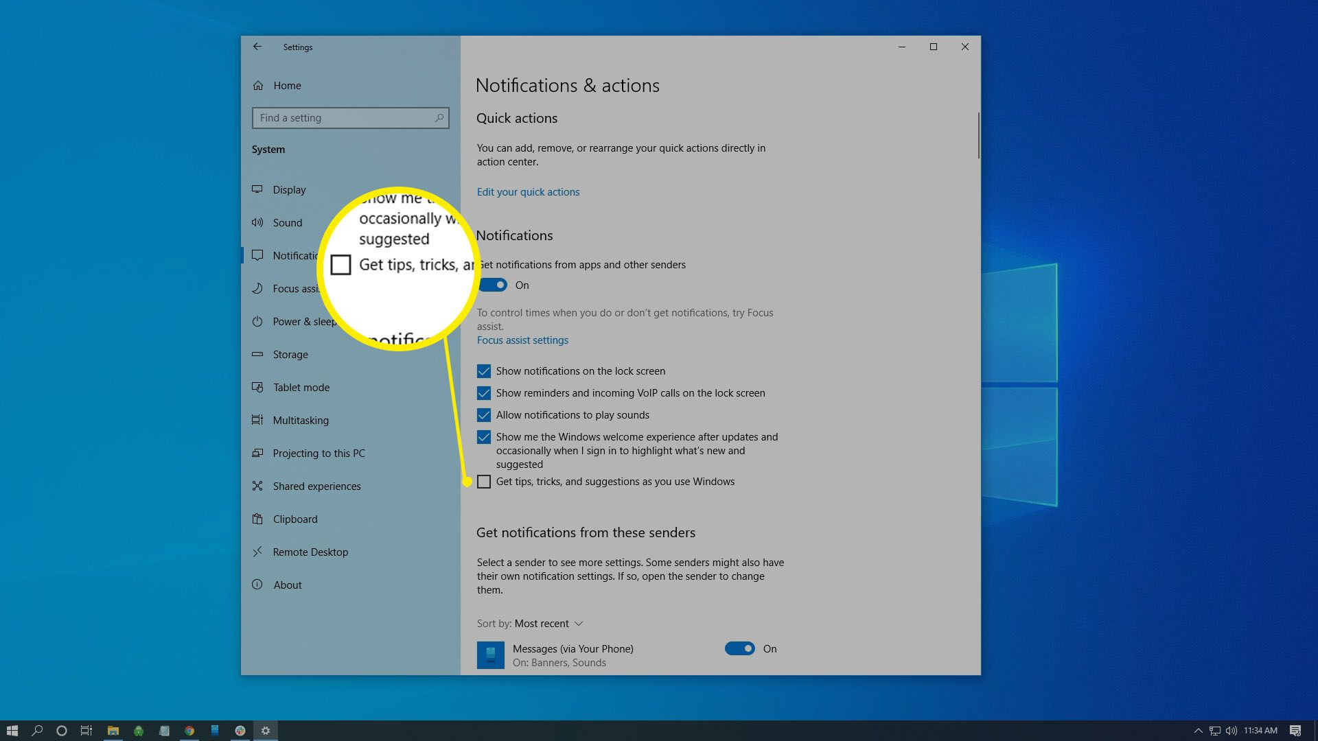 Select Notifications & actions in the left pane, then scroll down and set the toggle switch under Get tips, tricks, and suggestions as you use Windows to Off.