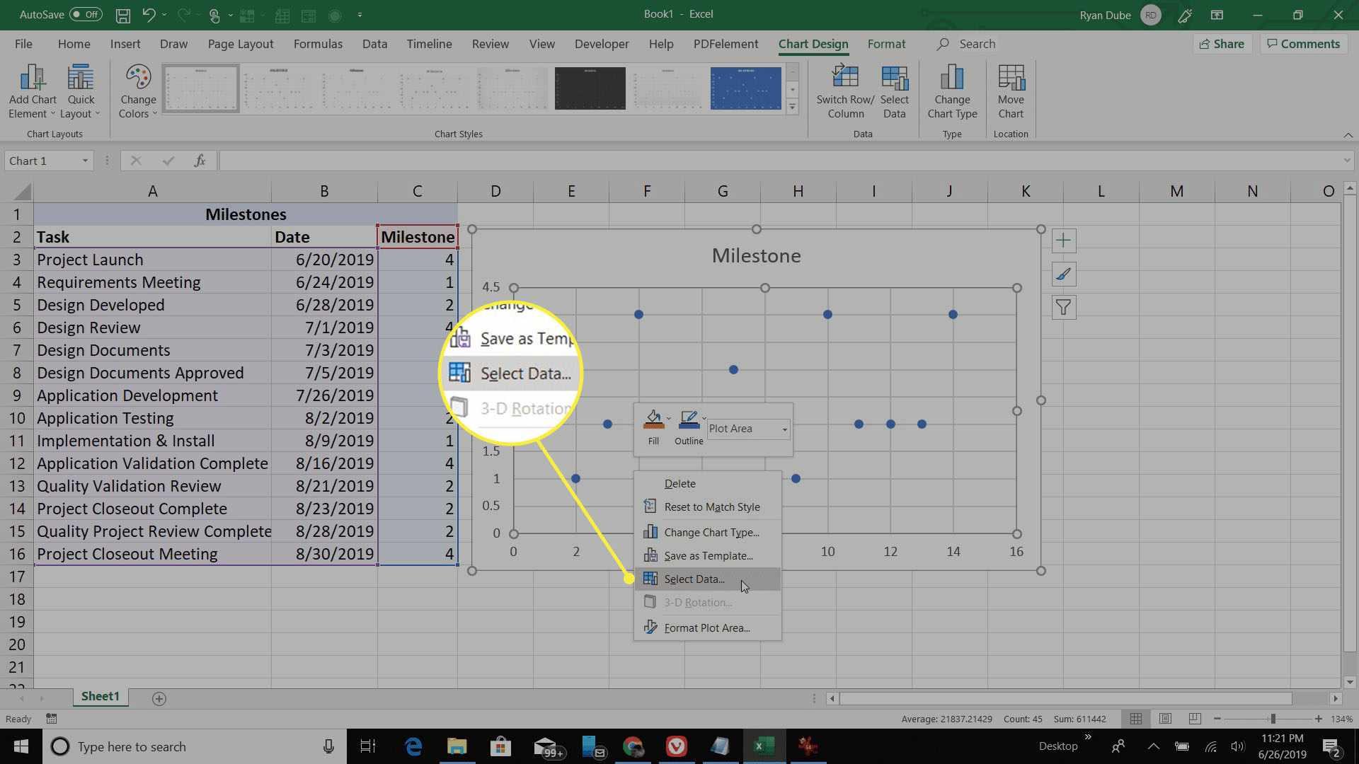 selecting Scatter Plot data