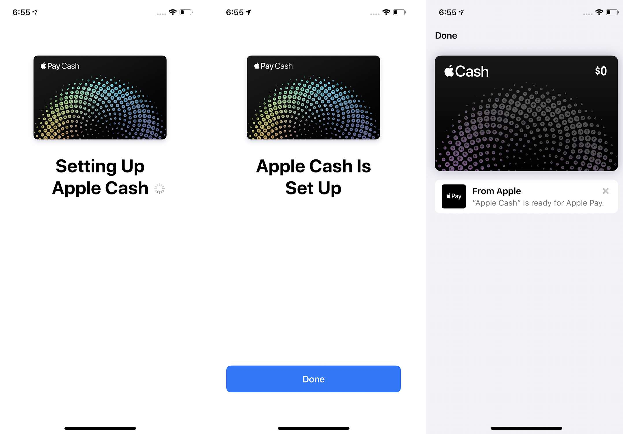 Screenshots of the last 3 steps of setting up Apple Pay Cash