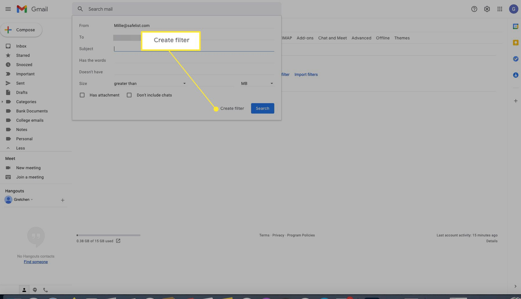 Gmail settings Create Filter dialog with