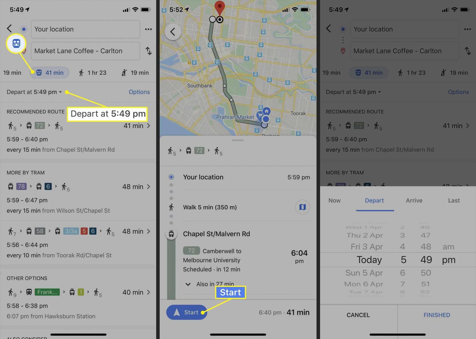 Public transport guide in Google Maps