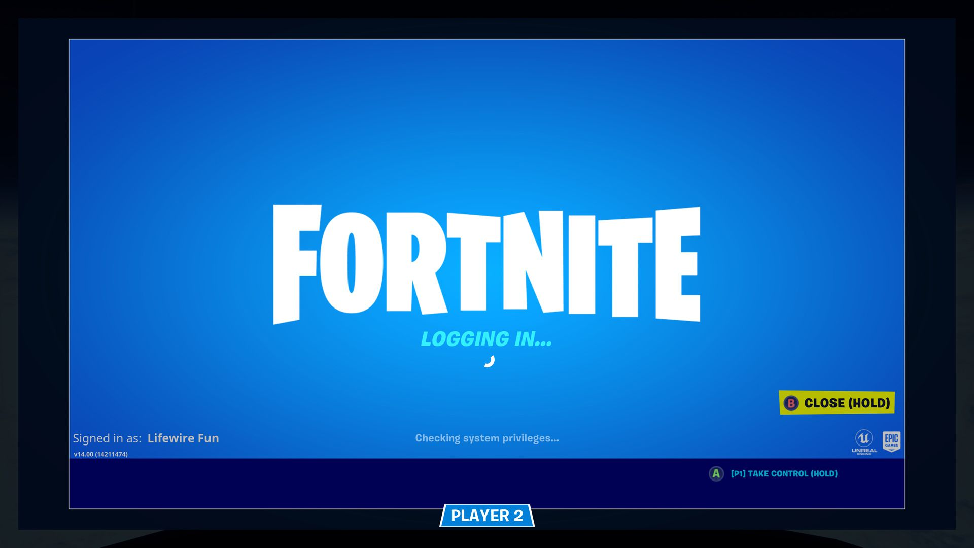 Fortnite video game on Xbox One.