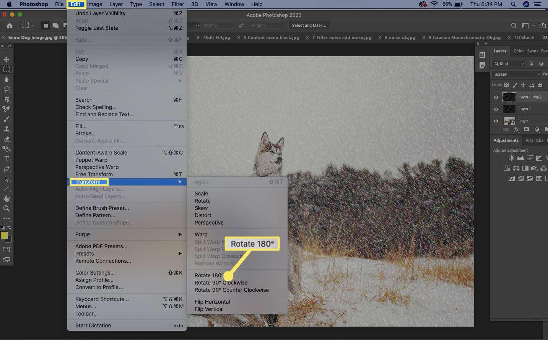 select Edit > Transform > Rotate 180 degrees.