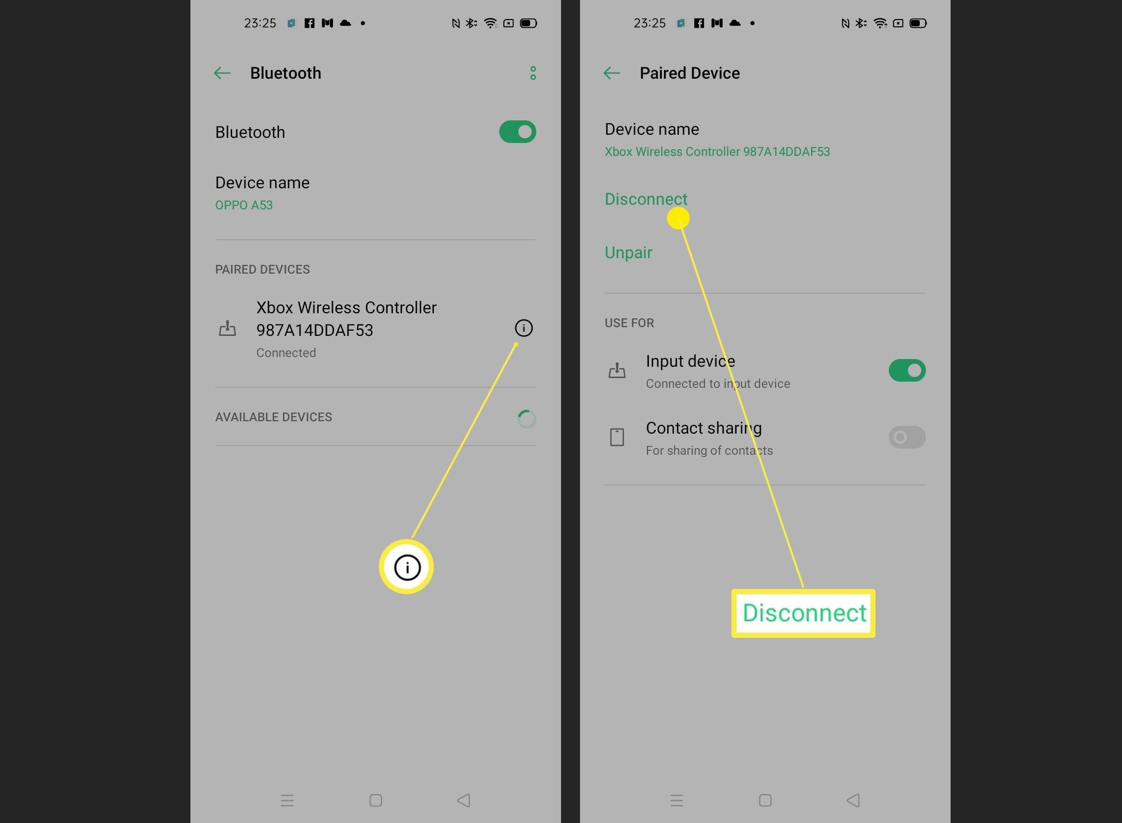 Steps for disconnecting a controller from an Android phone via the Bluetooth setting