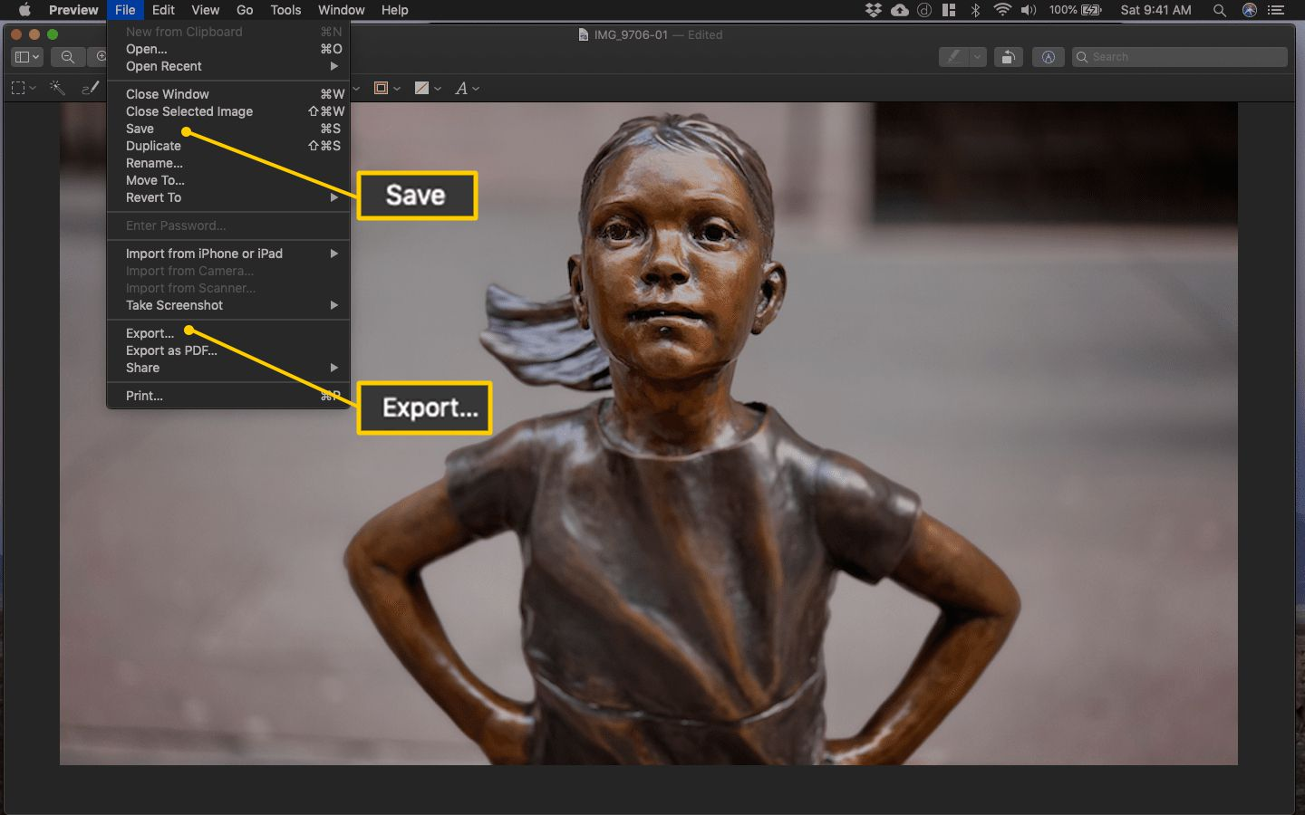 File > Save and File > Export menu items in Preview on macOS