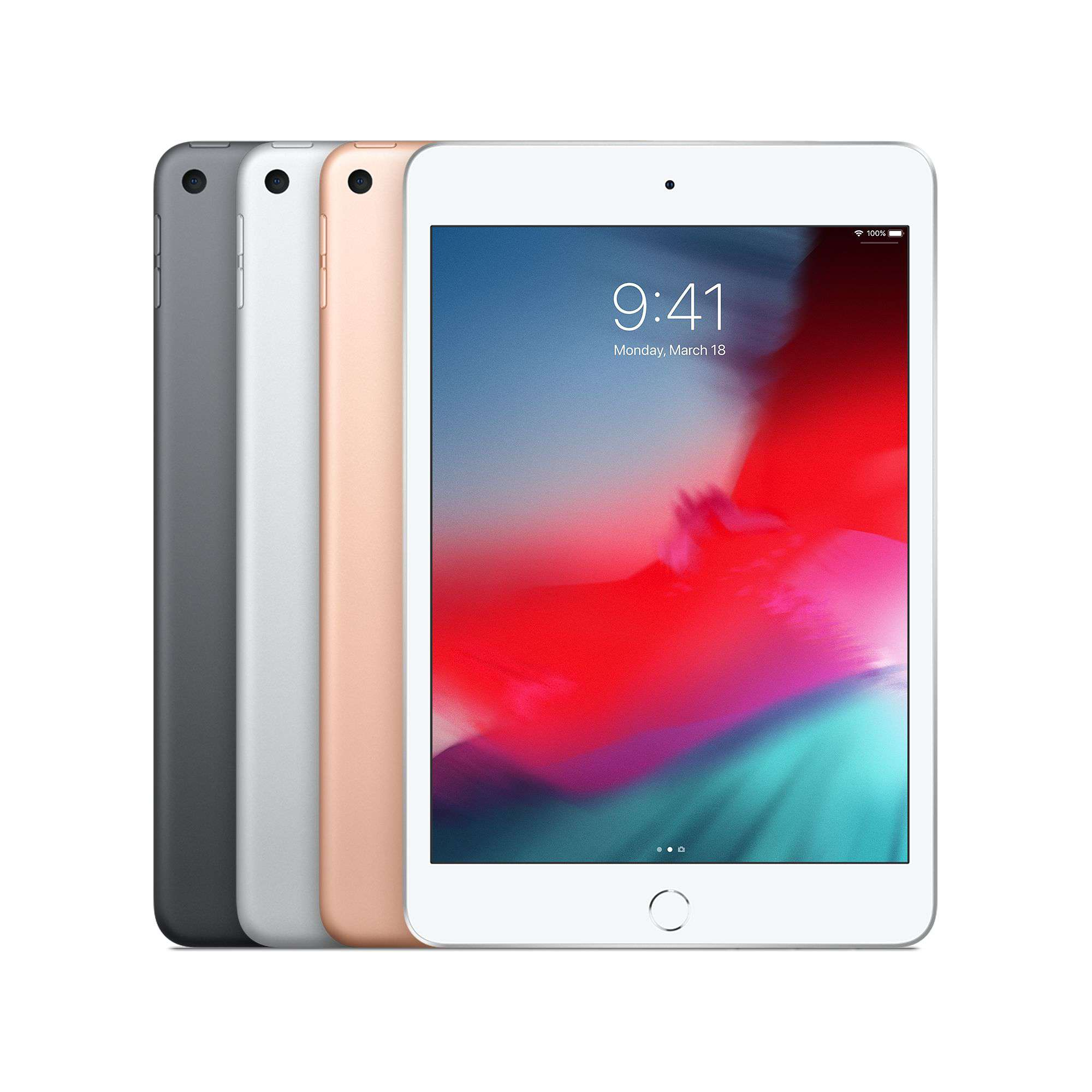 Product screenshot of the iPad Mini 5 in various colors