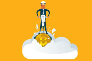 Cartoon image of a man mining bitcoin and other cryptocurrency