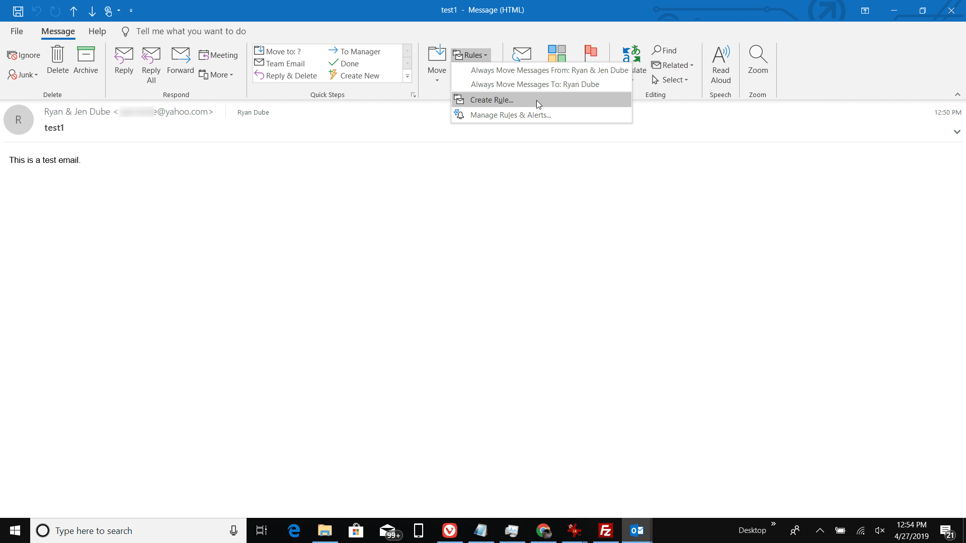 Filter One Sender's Mail to a Certain Folder in Outlook