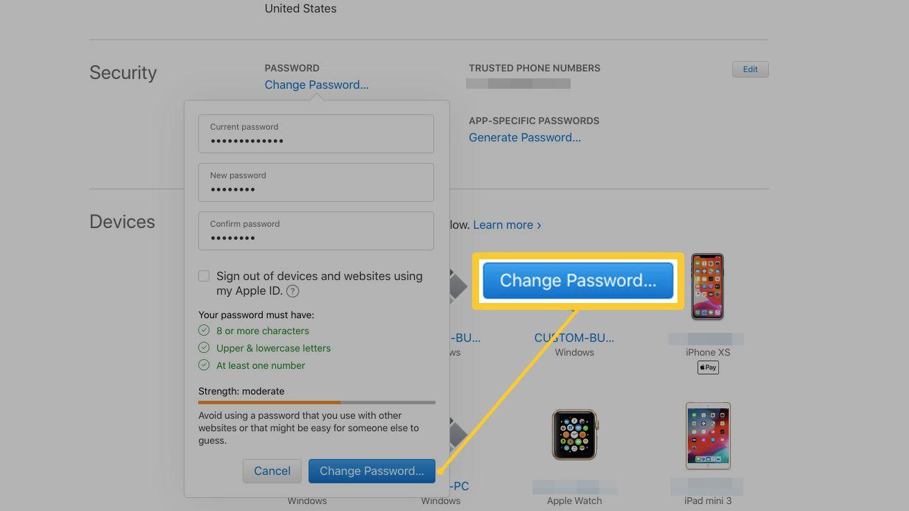 password change in Apple ID