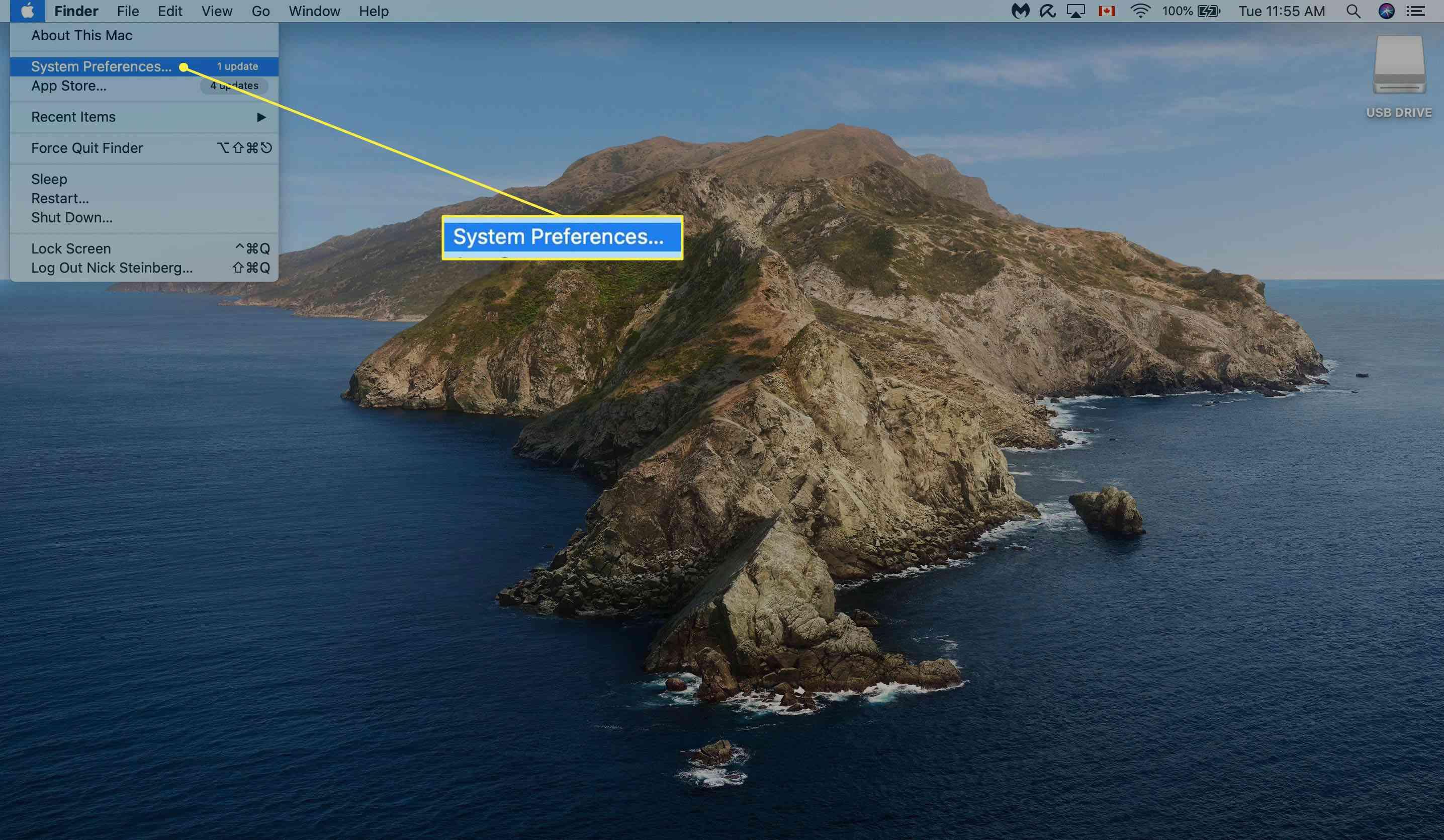 Opening System Preferences on Mac desktop.