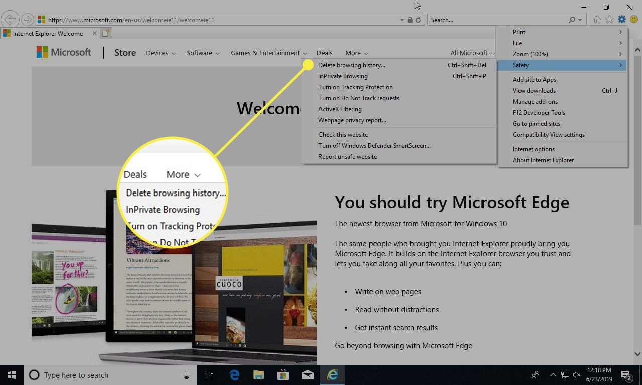 A screenshot of Internet Explorer with the Delete browsing history command highlighted