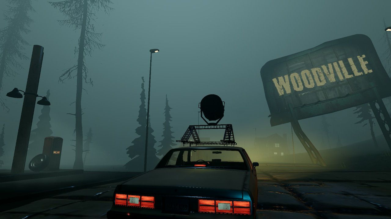 Driving past the Woodville sign in Titan Chaser