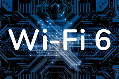 Wi-Fi 6 written on a blue background