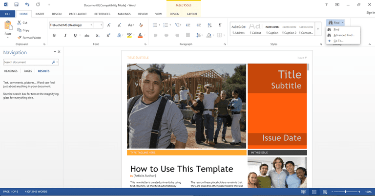 Using the find feature in Microsoft Word