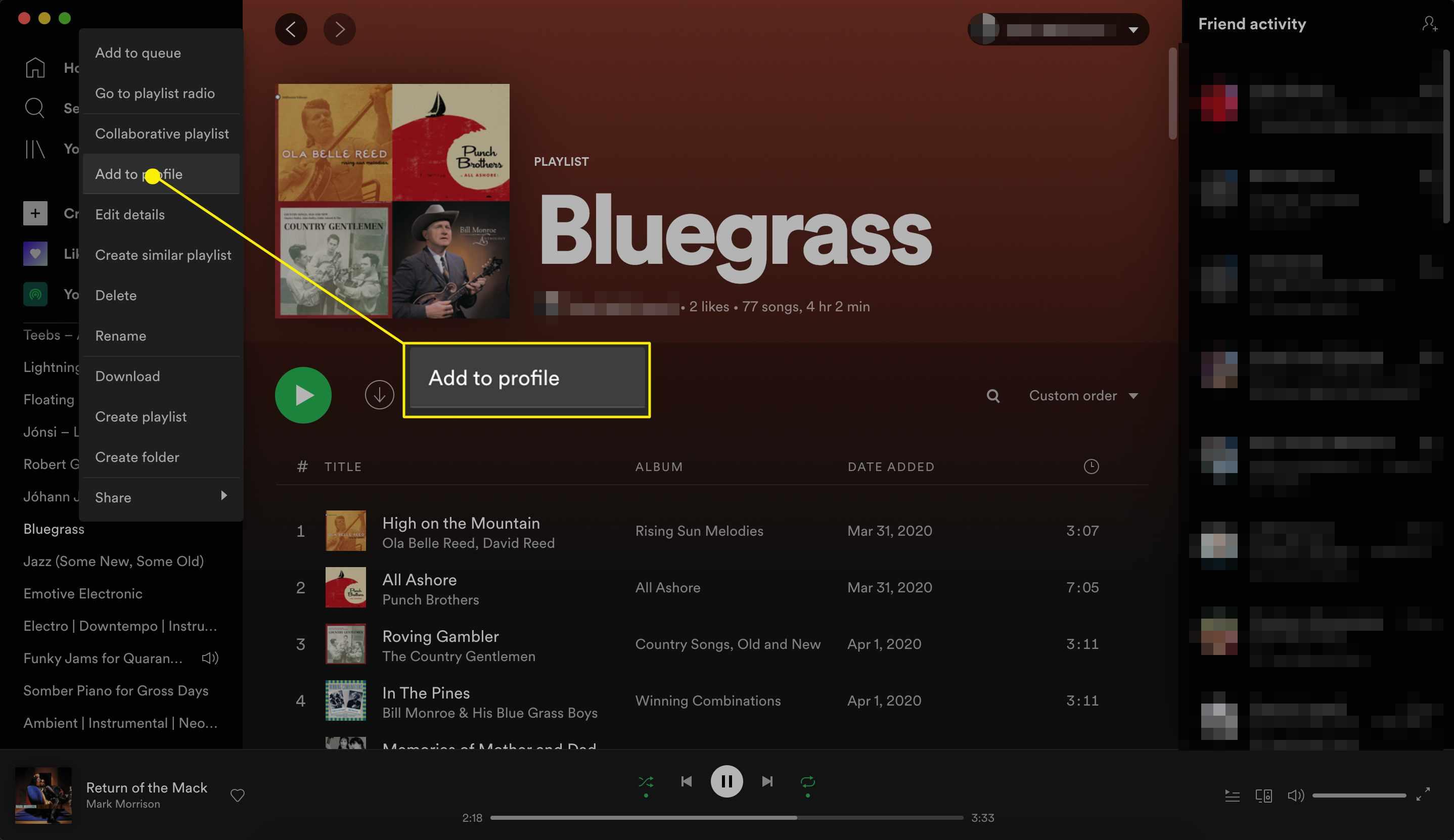 Spotify playlist add to profile