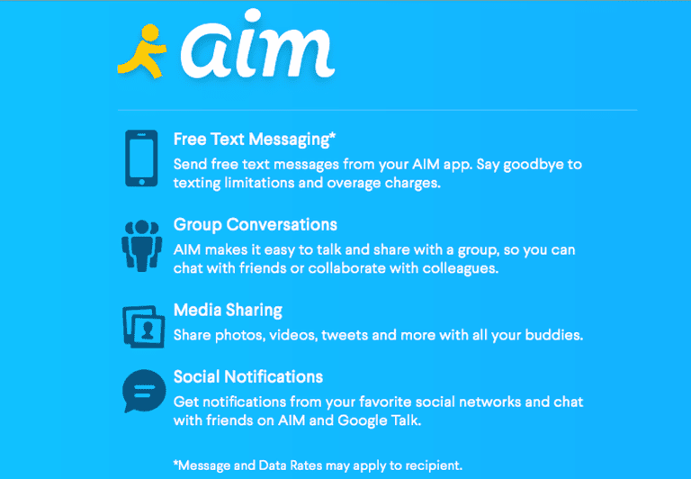 send text messages free using aim