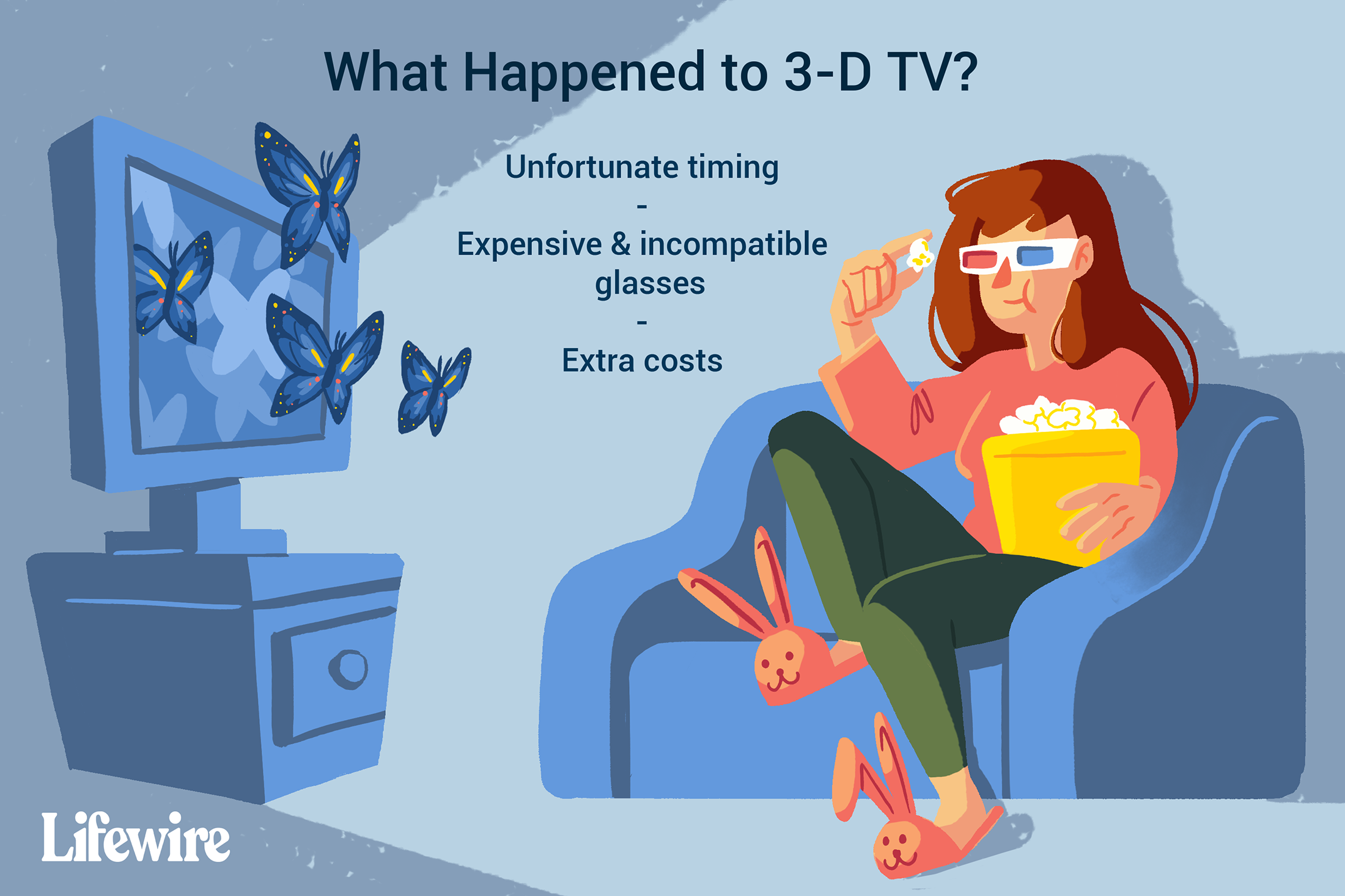 Illustration of a woman watching a 3D television.