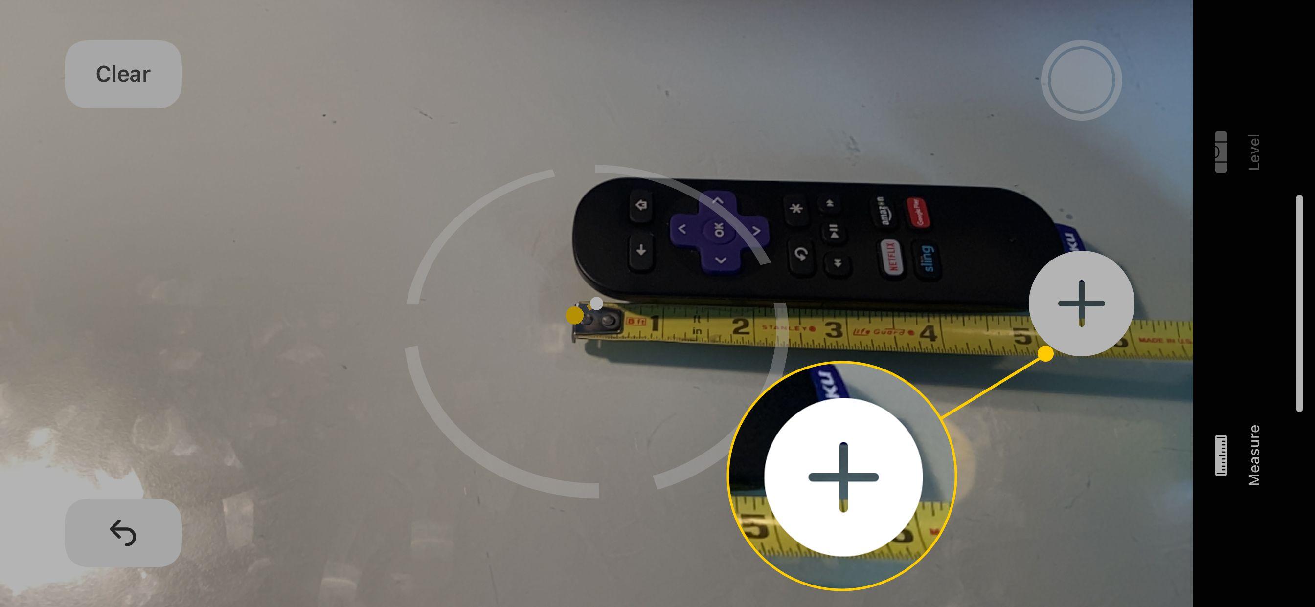 Plus button in Measure app