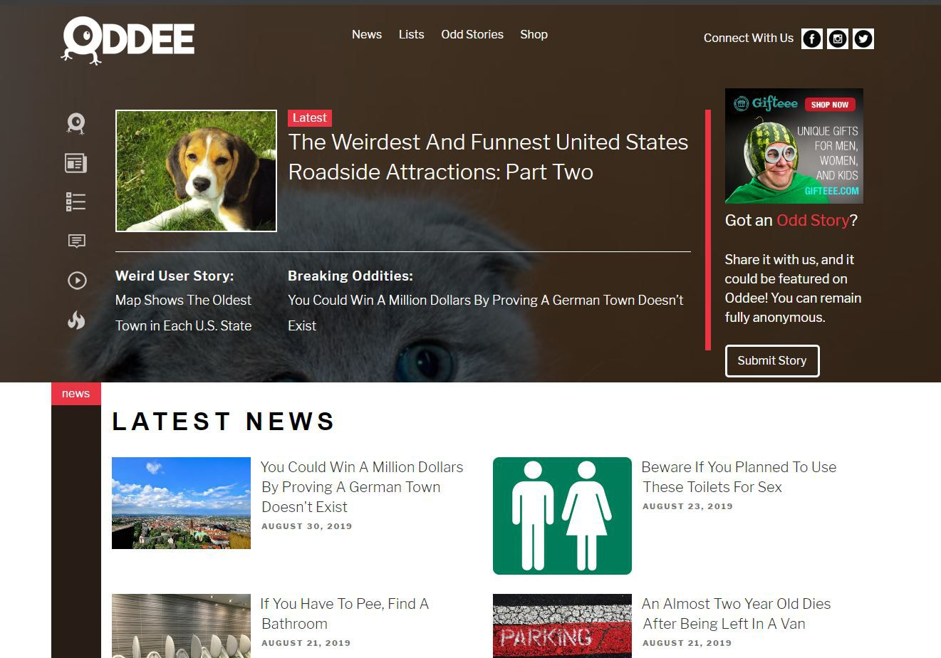 Oddee website