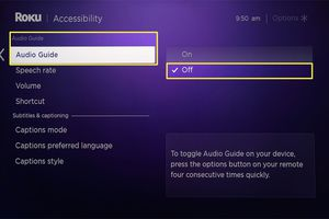 Roku Audio Guide disabled from the Accessibility area of Roku Settings.