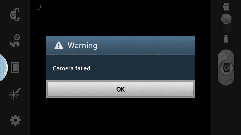 The 'Camera failed' error on a Samsung Galaxy Camera.