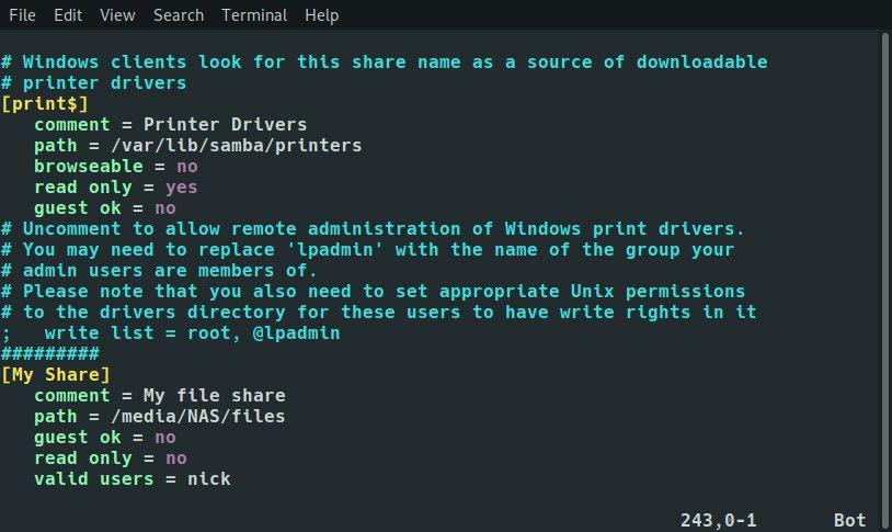 Raspberry Pi Samba share configuration