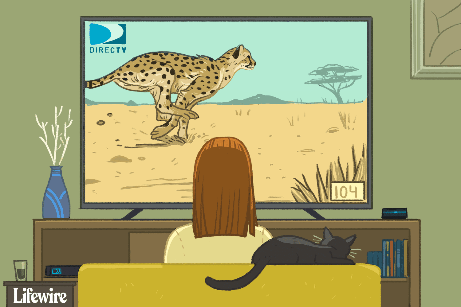 Illustration of a person watching DirecTV channel 104 on an HDT