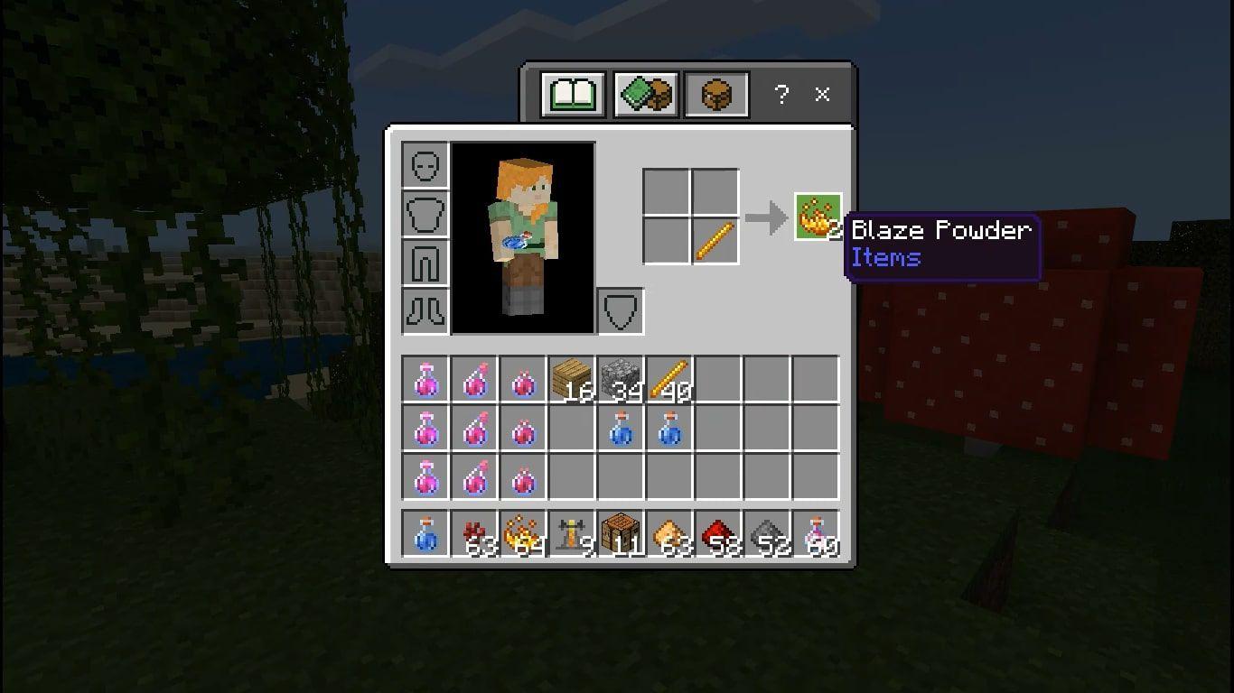 Make 2 Blaze Powder using 1 Blaze Rod.