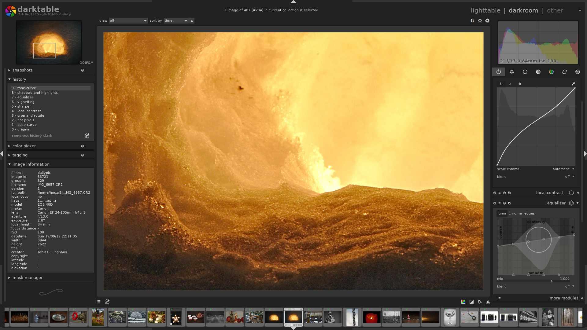 darktable's darkroom mode, sharpening an image