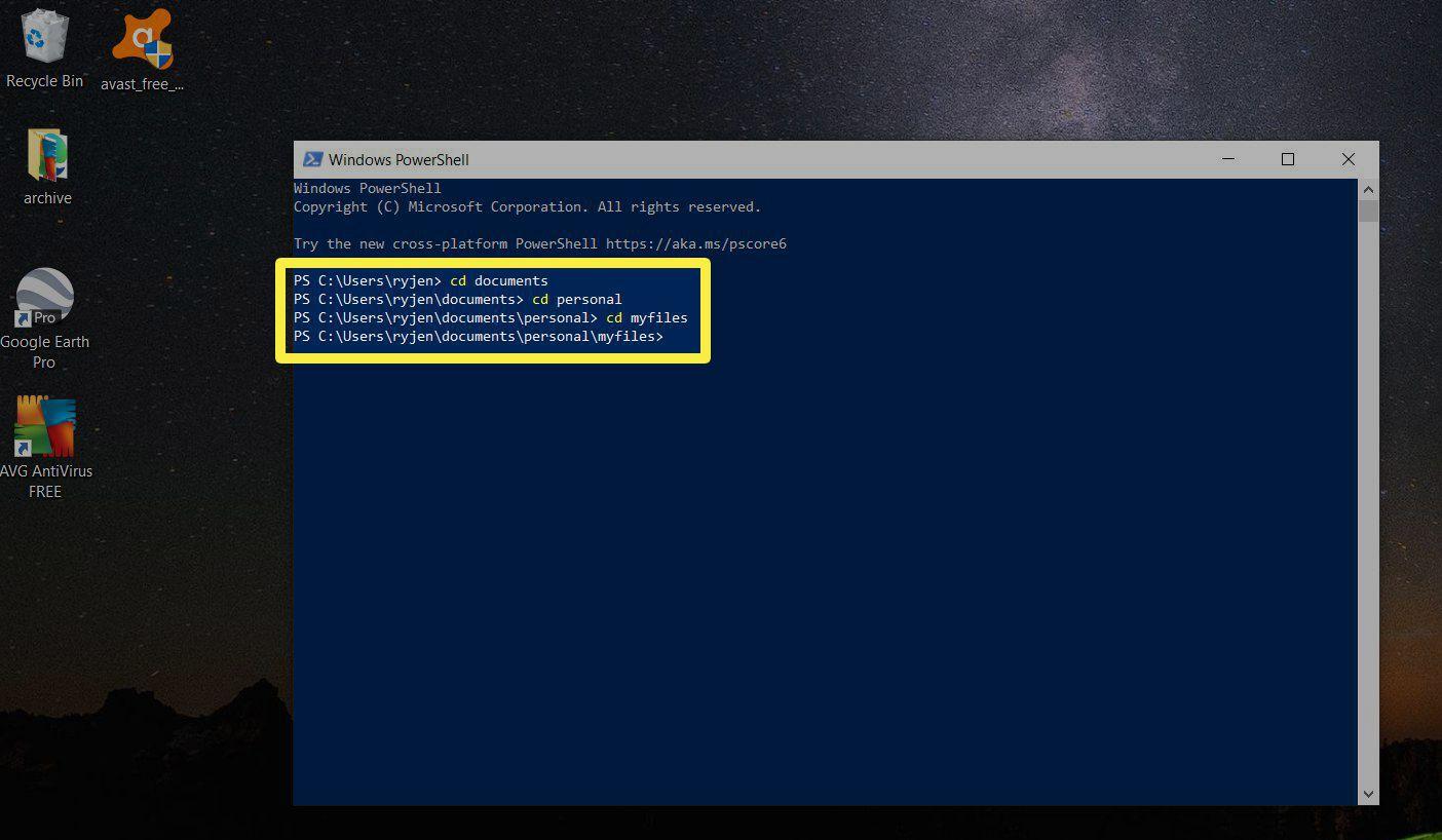 Screenshot of navigating directories with PowerShell