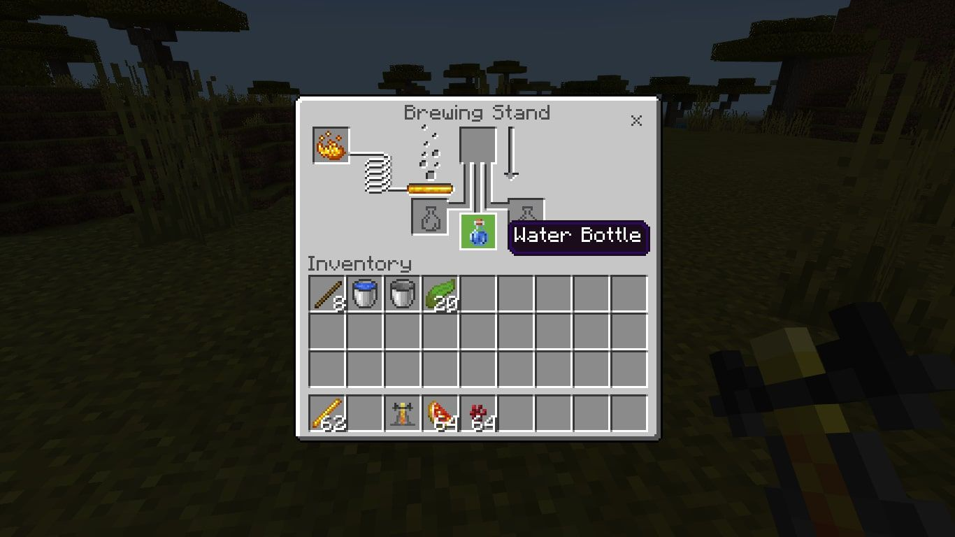 Add the Water Bottle to one of the three boxes at the bottom of the Brewing Stand menu.