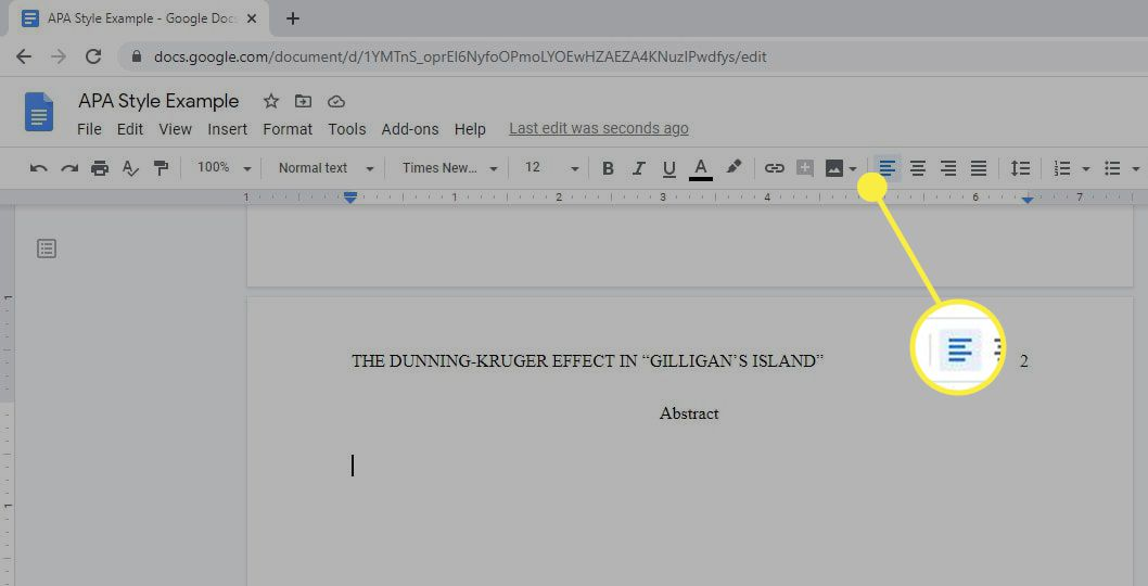 The Left Align option on the toolbar in Google Docs.