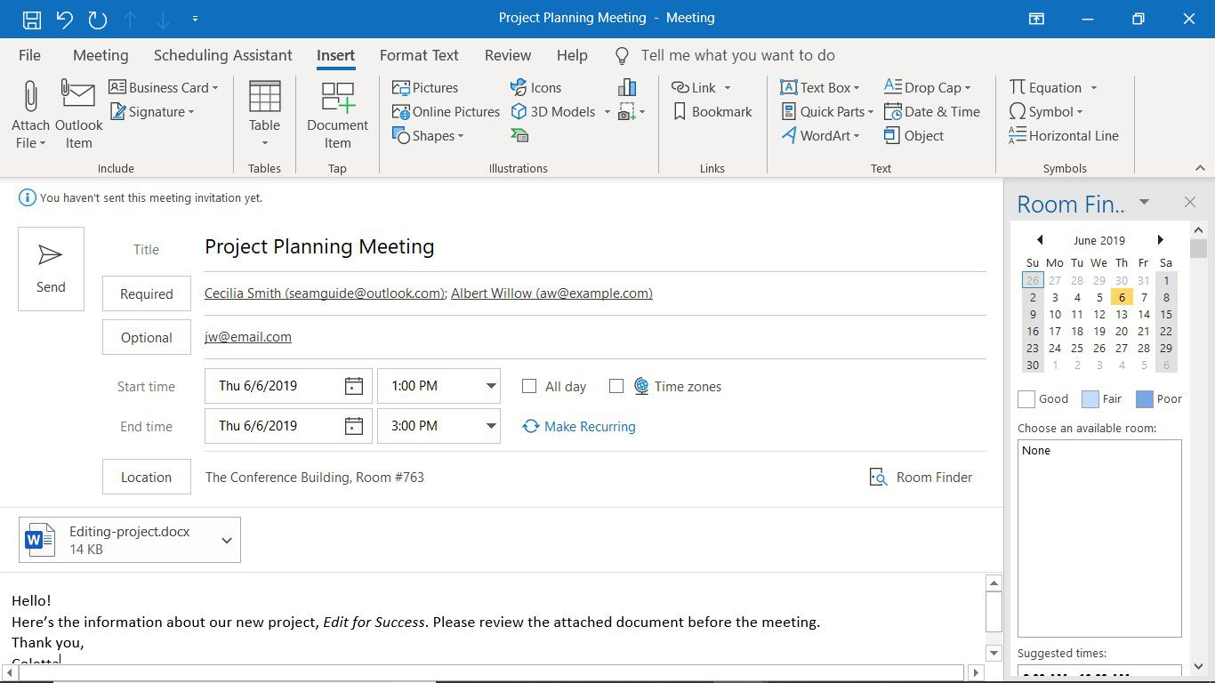 A new meeting invitation in Outlook with an attached file