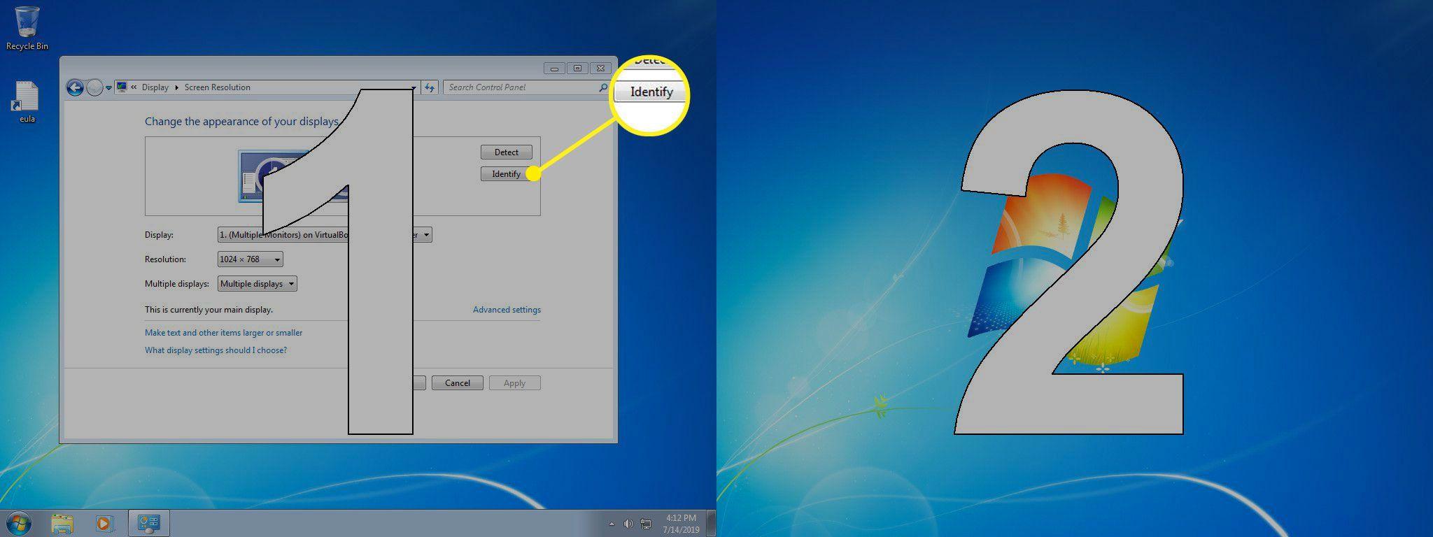 Identify button in Windows resolution settings