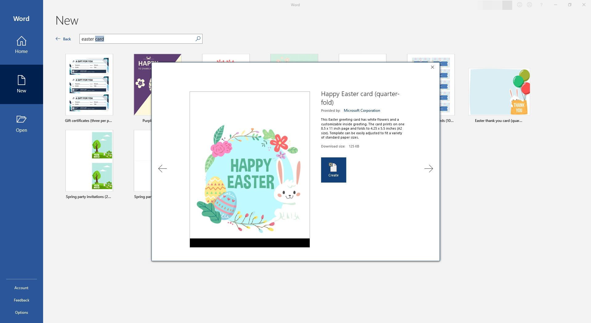 Colorful Easter Eggs and Bunny Card for Microsoft Word