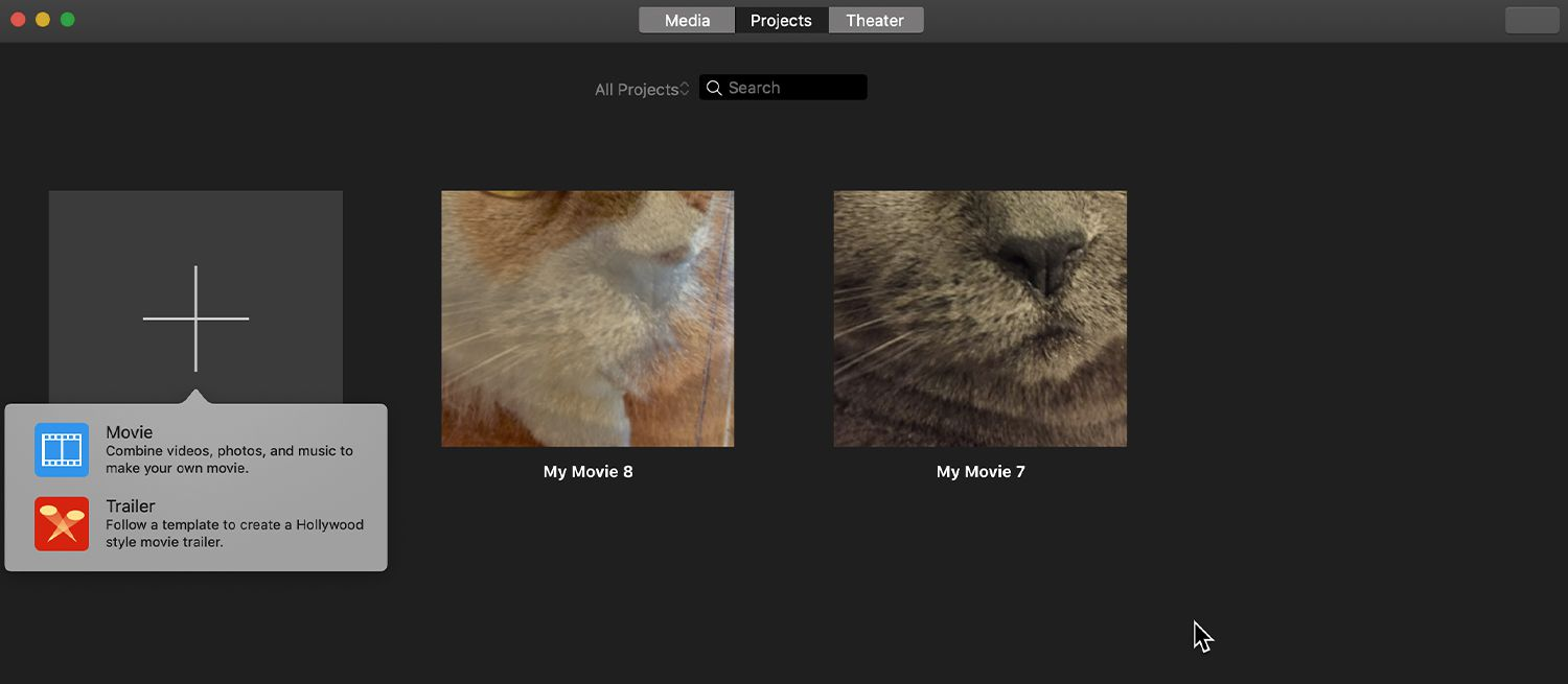 iMovie Projects screen