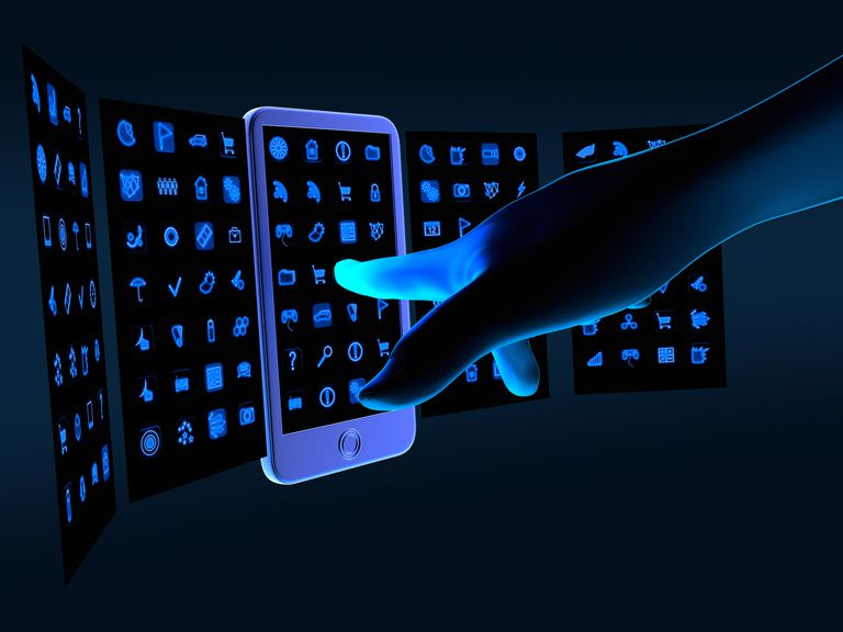 3D illustration of a hand reaching for a mobile phone screen