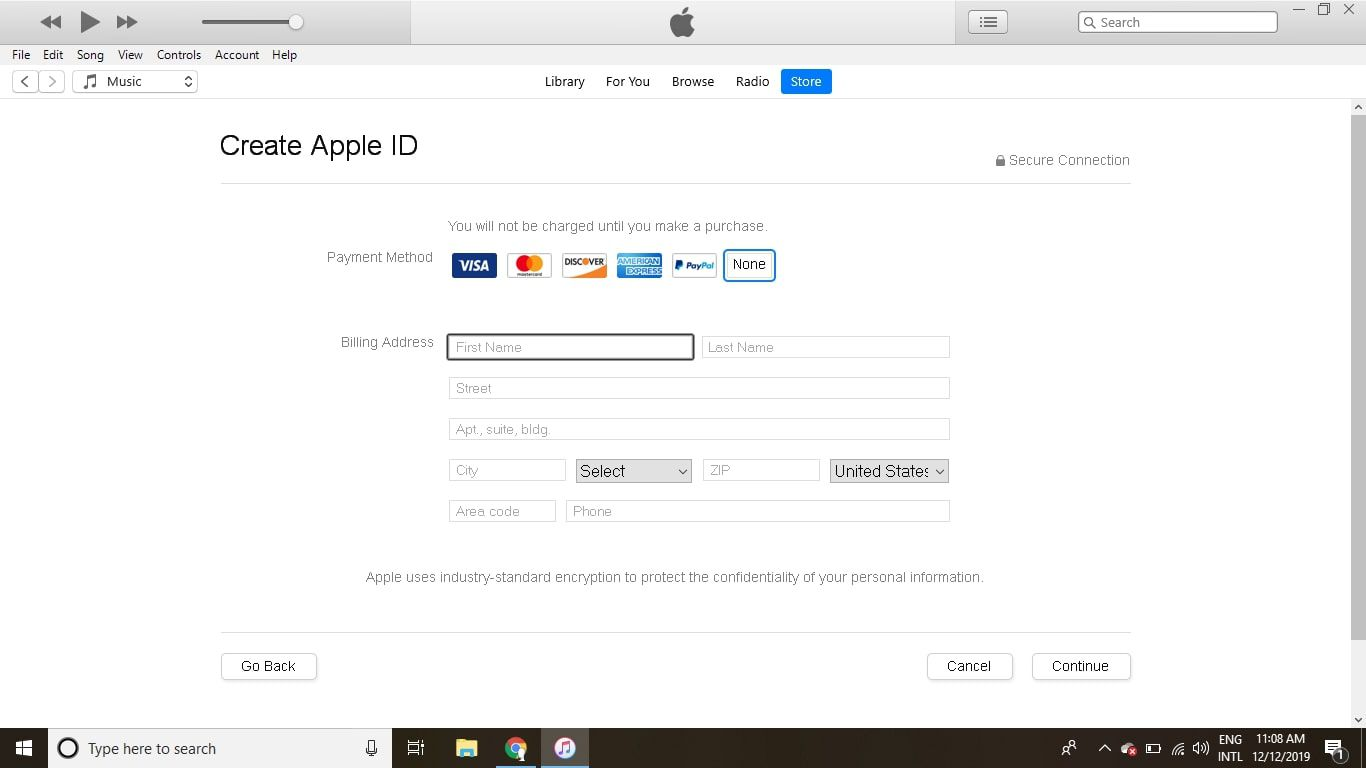 Select None next to Payment Method, fill out the Billing Address section, and then select Continue.